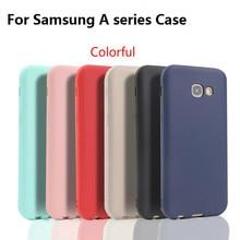 Xindiman silicone phone cover for samsungA3 2017 case soft TPU matte plain fundas samsungA5 A7 A6 A6plus A8 A8plus