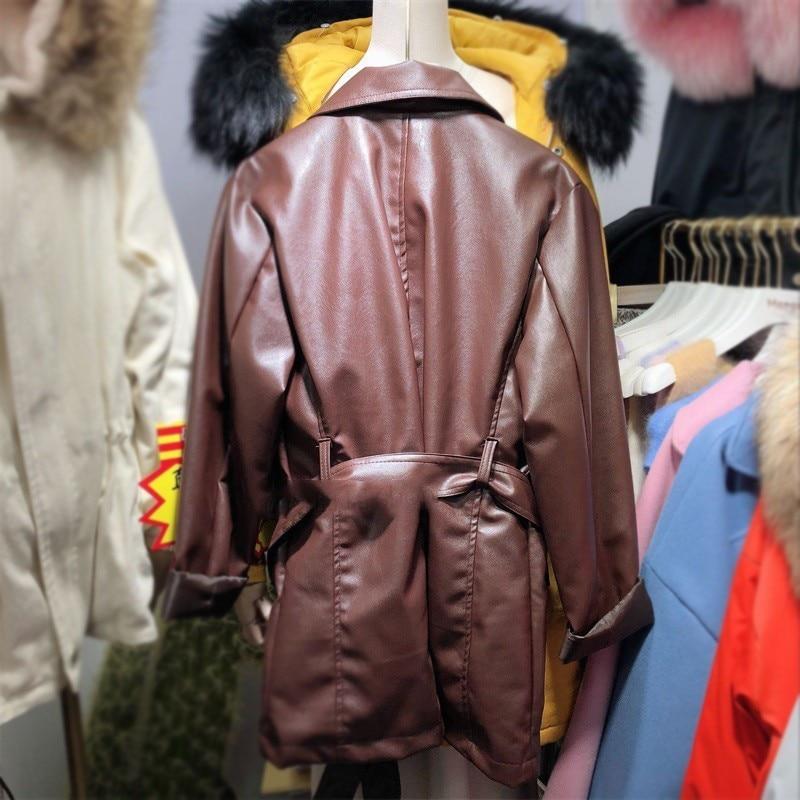 brown Manches Femmes Pu Bureau Black Mode Carré Faux Printemps Poches 2019 Marée ewq De Oe326 En Longues Femme Col Veste Dame Cuir Bouton qgXBBw
