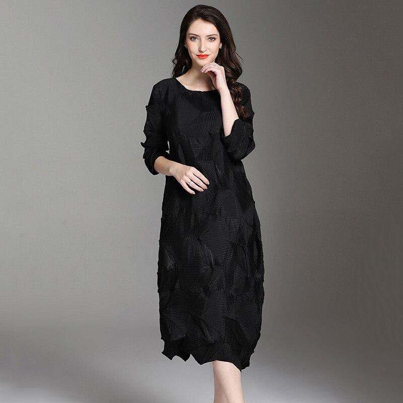 Vestidos de Otoño de CHICEVER de las tallas grandes cuello redondo manga de tres cuartos suelto vestido de gran tamaño ropa Casual de moda femenina nuevo-in Vestidos from Ropa de mujer    3