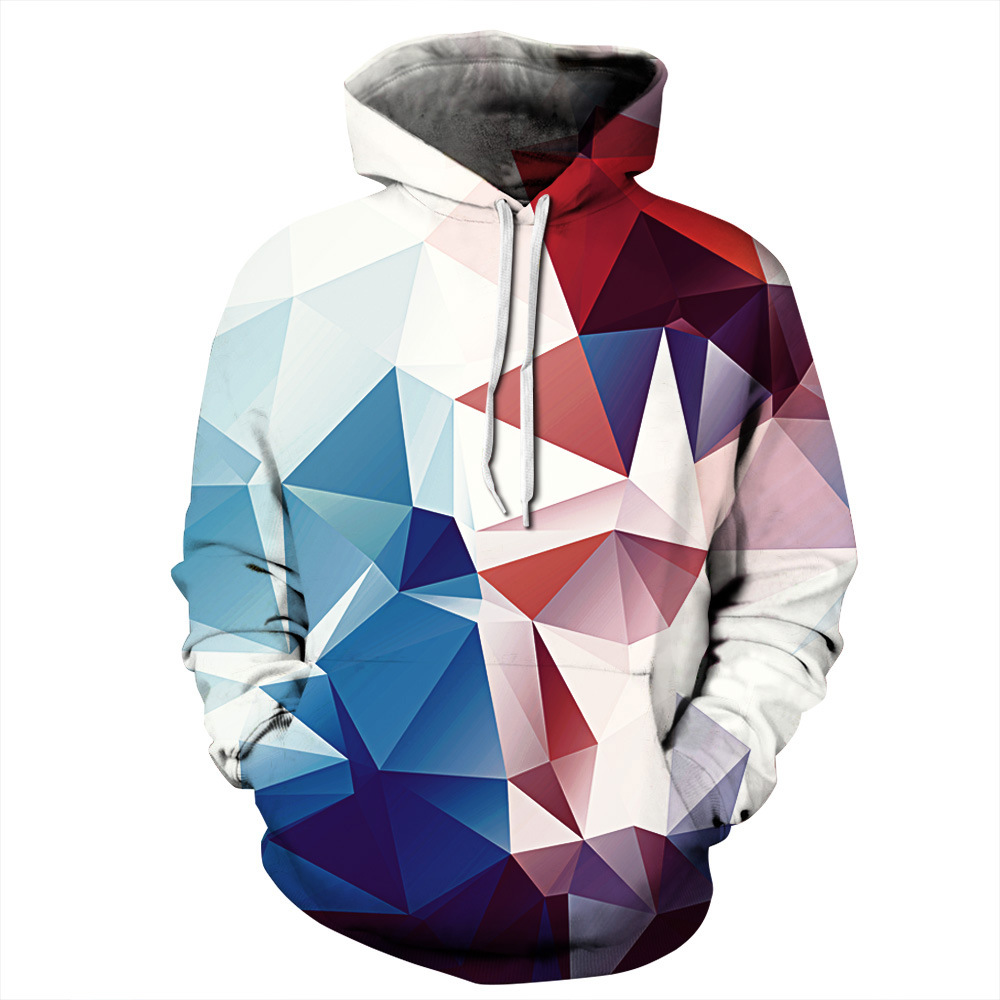 Argyle Color Blocks Print Hoodies Men Hoodie with Hat Round Neck Loose Sweatshirt Pullover Sudaderas Para Hombre Streetwear