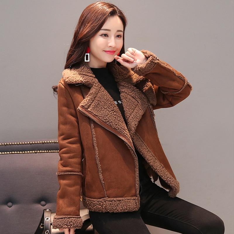 Lambswool Faux   Leather   Jacket Warm Lapel Coat Winter Women Zipper Fur   Suede   Motorcycle   Leather   Biker Jacket Chaqueta Cuero Mujer