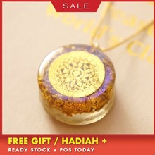 AURAREIKI Six-word Mantra Evil Spirits Orgonite Energy Pendant Necklace For WomenOrgonite Energy Converter Pendant Process Resin