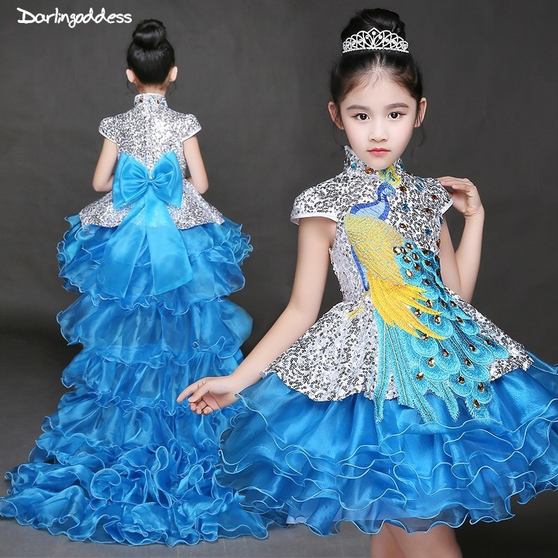 2019 Elegant High Low Purple Pageant   Dresses   for   Girls   Detachable Train Little Kids Ball Gown   Flower     Girl     Dresses   for Weddings
