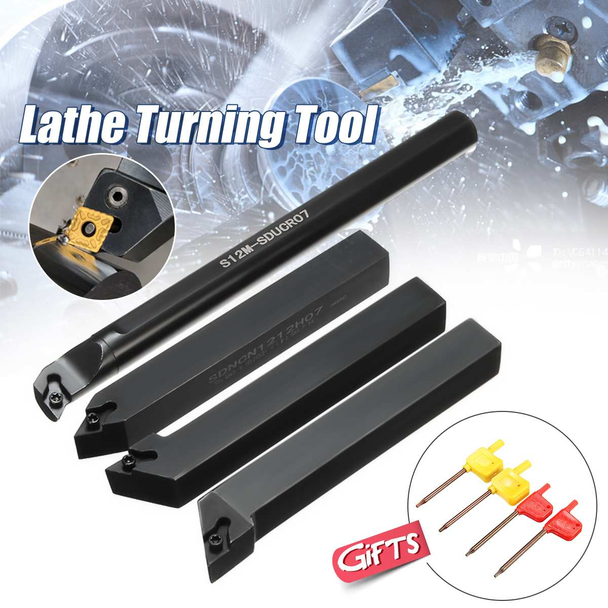 4Pcs Set Of 12mm Lathe Turning Tool Holder Borning Bar For DCMT0702 Insert New Arrival