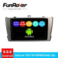 FUNROVER android 9.0 2din car radio multimedia player For Toyota Avensis 2009 2013 dvd gps navigation navi autoradio DSP 2.5D 4G