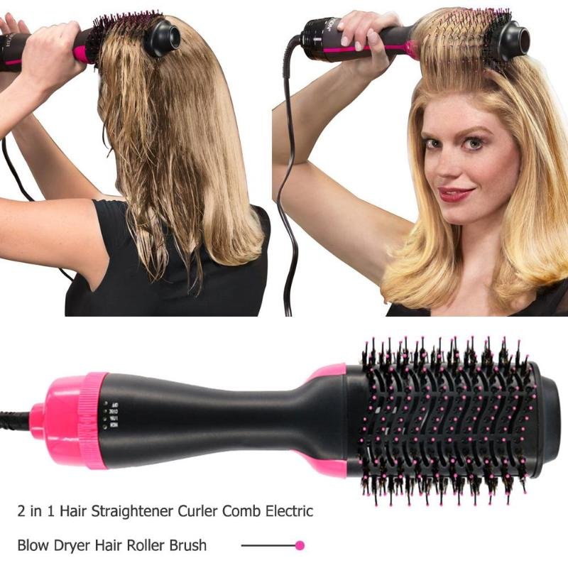 Multifunctional 2 in 1 Hair Dryer Rotating Hair Brush Curler Roller Rotate Styler Comb Styling Hair Straightener Curling IronMultifunctional 2 in 1 Hair Dryer Rotating Hair Brush Curler Roller Rotate Styler Comb Styling Hair Straightener Curling Iron