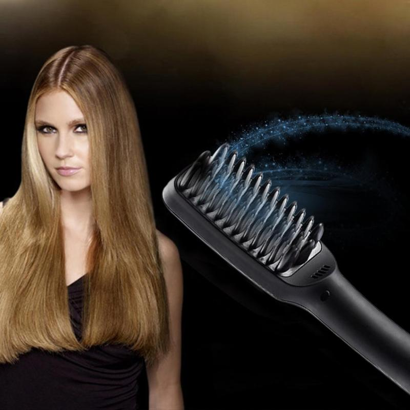 DC110V-240V 30W High Quality Professional Hair Brush Straightener LCD Display Electric Hair Comb Straightening US Plug