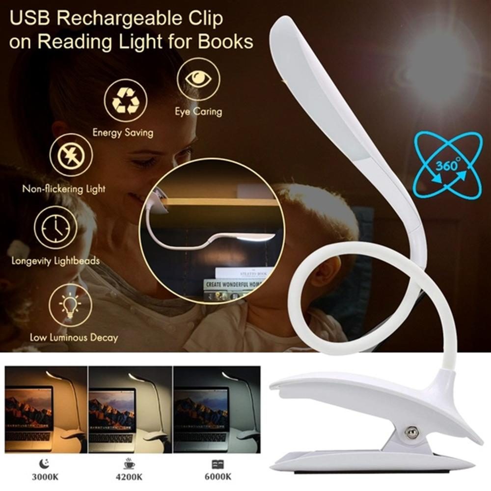 LED Reading Light Book Light in Bed Reading Lamp Clip on Headboard -3 Brightness Eye Protection Lightweight USB RechargeableLED Reading Light Book Light in Bed Reading Lamp Clip on Headboard -3 Brightness Eye Protection Lightweight USB Rechargeable