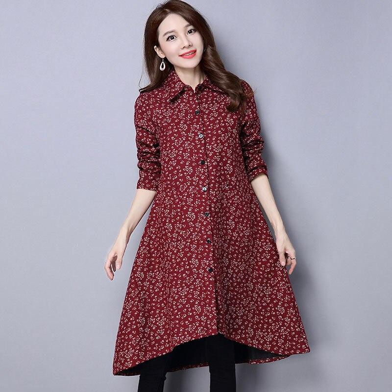 BUYKUD Vintage Shirt-Coats 2018 Autumn Winter New Long Sleeve Printed Coat Office Lady Irregular hem Women Button Linen Coats 4