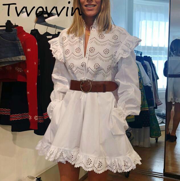 Femme robes broderie creux à volants coton robe femmes blanc ceinture Flare manches Sexy femmes robe 2019 nouvelle mode E917