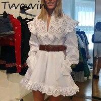 Woman Dresses Embroidery Hollow Ruffle Cotton Dress Women White Belt Flare Sleeve Sexy Women Dress 2019 New Fashion E917