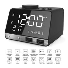 цены Bluetooth Speaker Radio Alarm Clock With USB Charging Port LED Digital Table Clock Speaker Home Digital Creative Speaker Clock