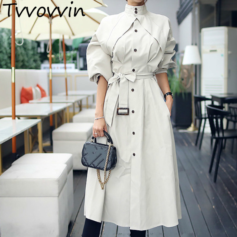 TVVOVVIN 2019 New Spring Winter Stand Collar Long Sleeve Personality Wiast Tie Loose Korean Women Coat