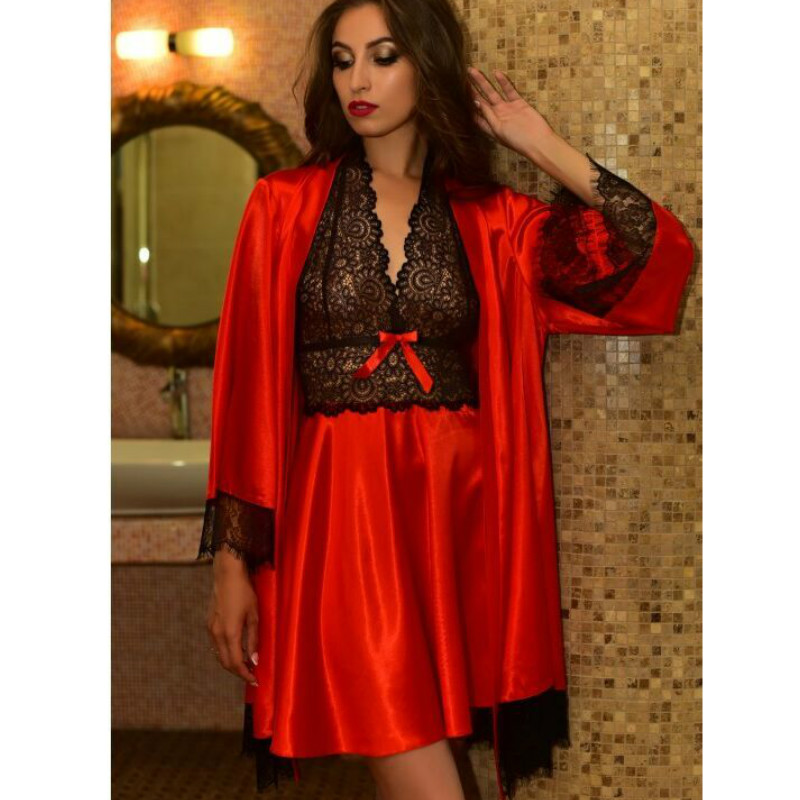 9acfded4cd hirigin Christmas Women Sets Lace Patchwork Backless Silk Robe Dress+ Sexy  Coat Suits Erotic Suit Pajamas