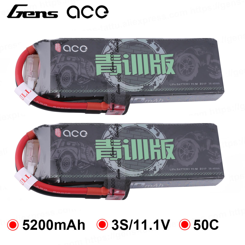 2 Packs Gens ace 5200mAh 11.1V Lipo 3S Battery Pack 50C Deans Plug XT60 Connector for RTR 1/10 1/8 Scale Heli quad RC Car image