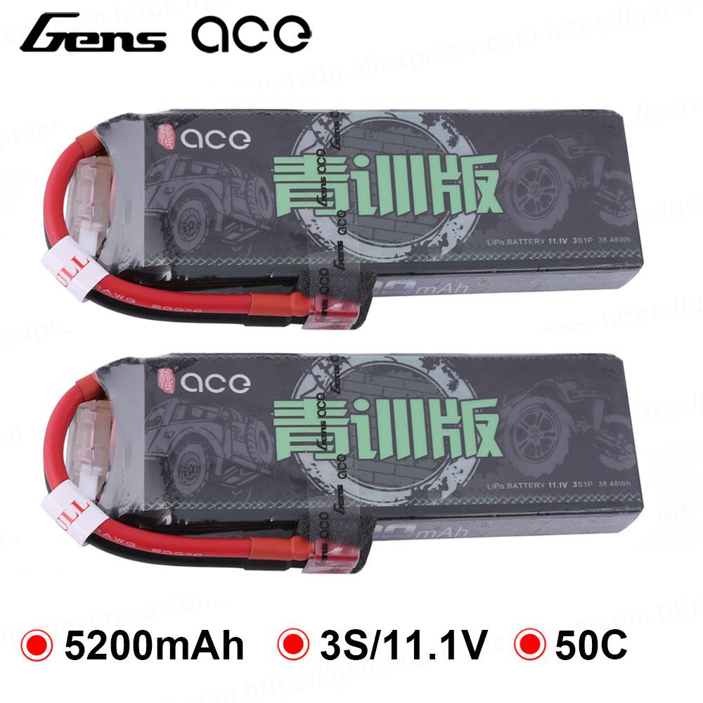 2 embala Gens ace 5200 mAh 11.1 V Lipo Bateria 50C 3 S Conector Deans Plug XT60 para RTR 1/10 1/8 Escala Heli quad Carro RC