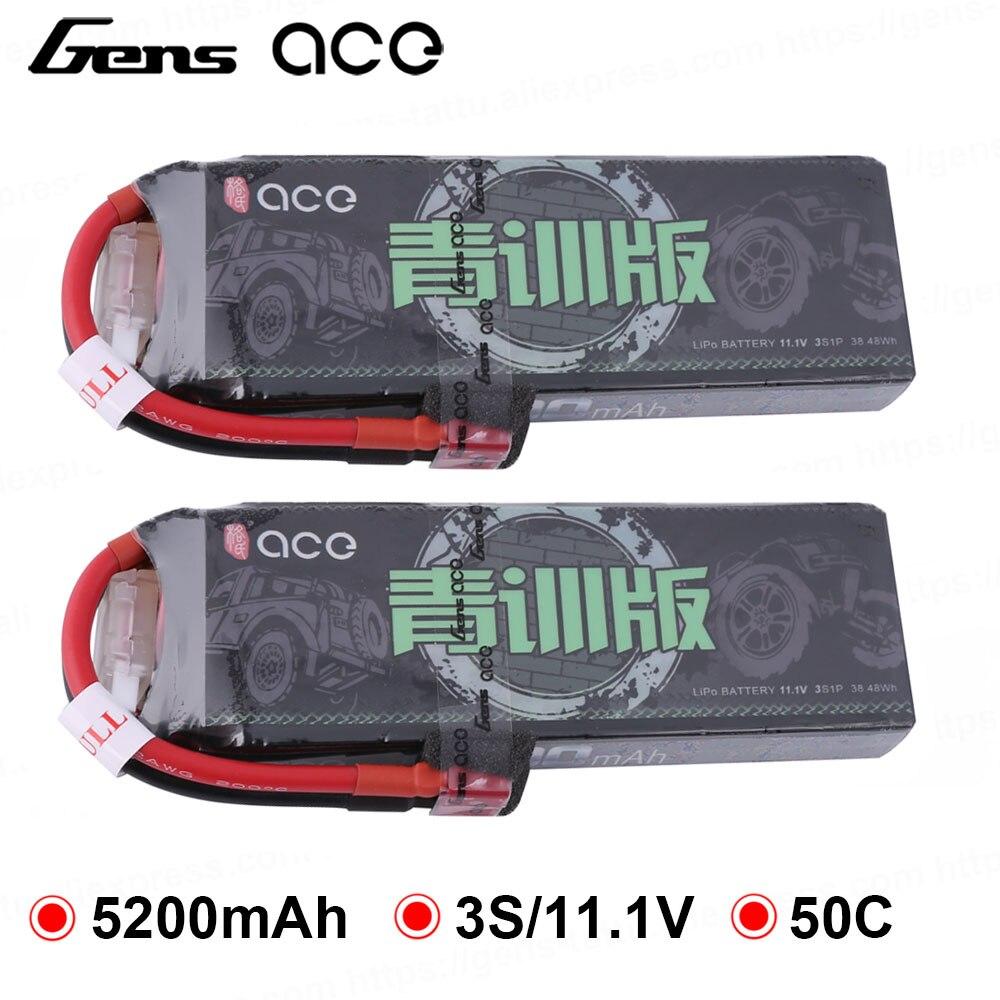 2 embala gens ace 5200 mah 11 1 v lipo bateria 50c 3 s conector deans