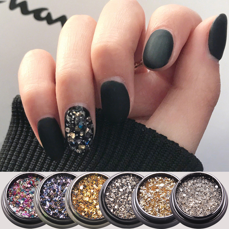 HNUIX 6 Color Crushed Style Irregular Stone Small Nail Beads 3D Nail Art DIY Design Manicure Decoration In Box Accessories in Rhinestones Decorations from Beauty Health