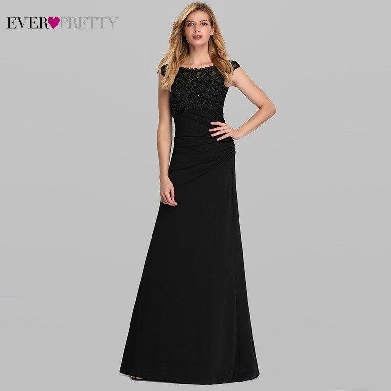 Beaded Lace Evening Dresses Ever Pretty EP07924BK A-Line O-neck Sleeveless Elegant Black Long Formal Dresses Abendkleider 2020