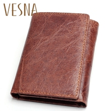 Vesna RFID Wallet Antitheft Scanning Leather Hasp Leisure Mens Slim Mini Case Credit Card Trifold Purse