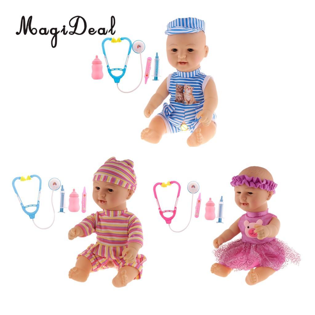 MagiDeal simulé poupée cri rire parler Expression intelligente bébé poupée ensemble enfants semblant jouer jouets amusant jouet cadeaux d'anniversaire