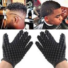 Завивка прессформы катушки черные вьющиеся волосы перчатки волна Парикмахерская Кисть для волос губки перчатки