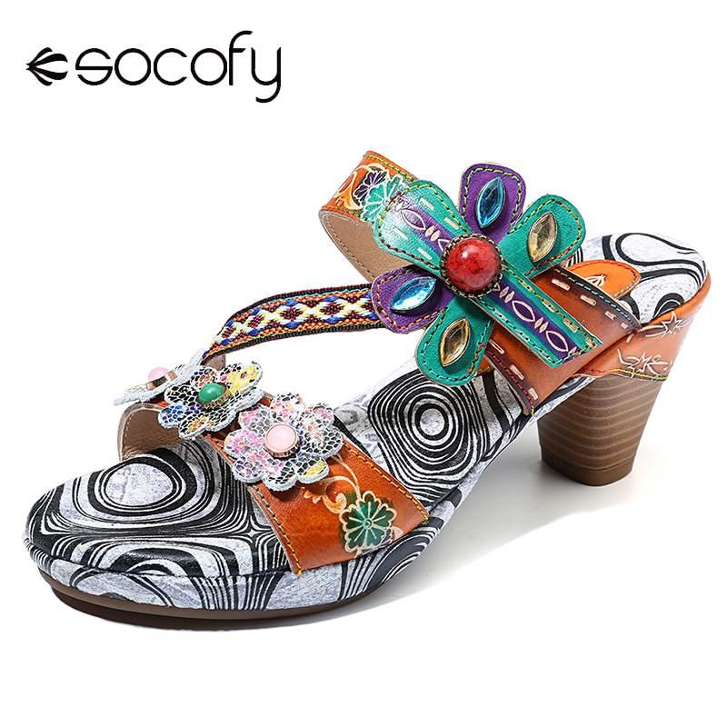 SOCOFY czechy kwiatowy Retro klamra klejnoty ręcznie malowane prawdziwej skóry hak pętli Slip On miękkie sandały Retro czeski buty damskie w Średni obcas od Buty na  Grupa 1