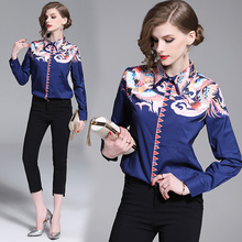 Quality Women Tops blue Casual Long Sleeves bird Blouse Designer Runway Nation Printed Ruffles Shirts runway fashion
