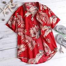 2019 summer Shirt Men Graffiti Print leaf Shirt Hawaiian CasualCotton Lapel Button Seaside Short Sleeve Tops hollowed leaf printed hawaiian shirt