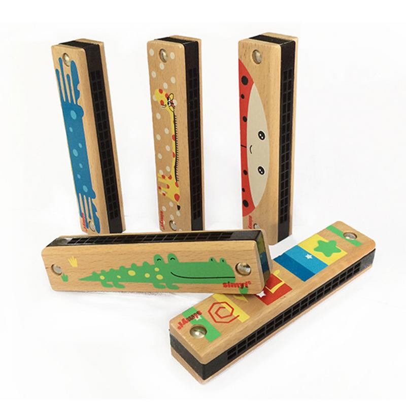Beech 16-Hole Harmonica Entry Instrument Children's Play Toys For Infant Boys Girls Pupils Musical Instrument