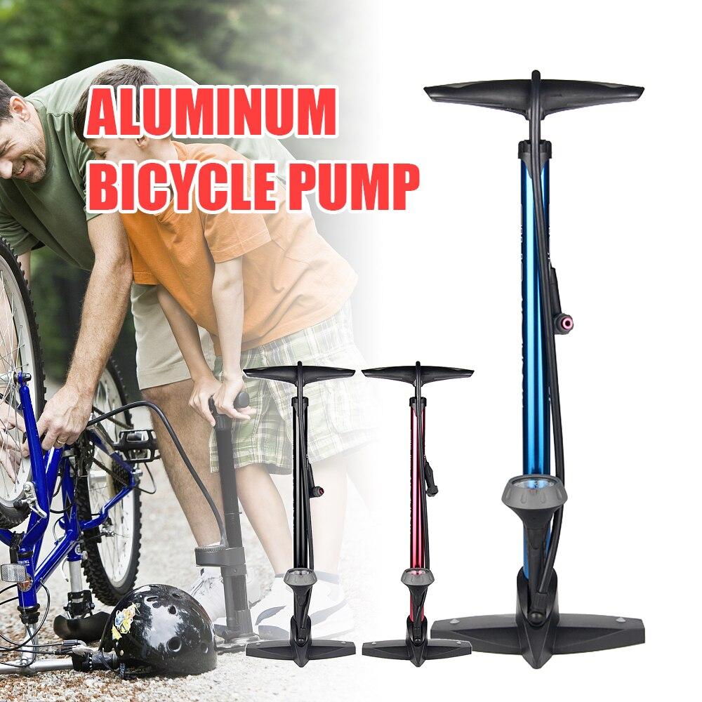 Bike Floor Pump Aluminum Bicycle Air Pump with Air Gauge Schrader Valve Presta Valve