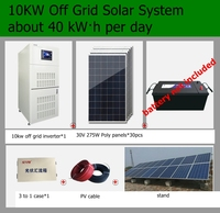 Complete 10KW Off Grid Solar Kit 275w Poly Solar Panels 10kw Off Grid Inverter PV Solar Panel produce 40 kWh Per Day