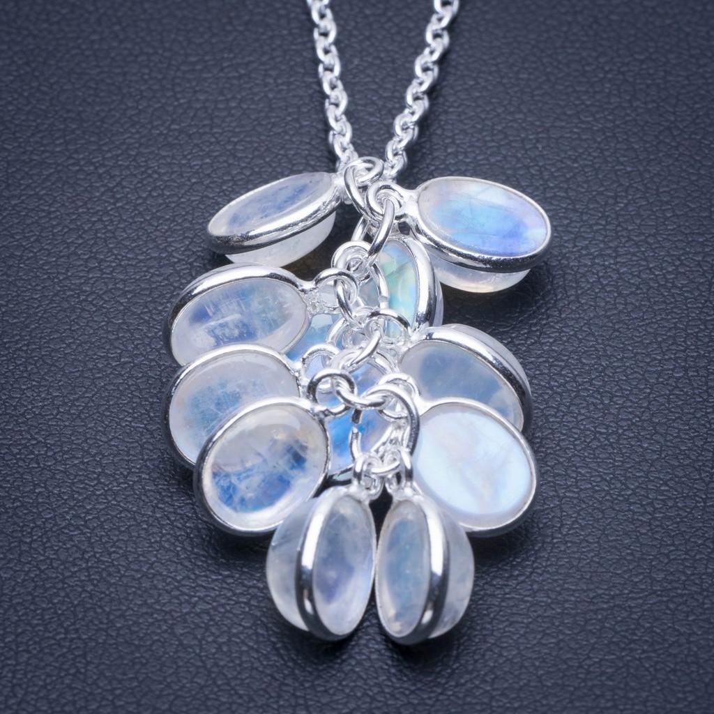 Naturel Arc-En-Moonstone 925 Sterling collier en argent 17.25