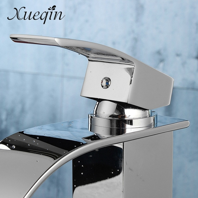 Xueqin Cold/Hot Bathroom Waterfall Basin Sink Faucet Chrome Polish Single Handle Single Hole Mixer Tap Deck Mounted