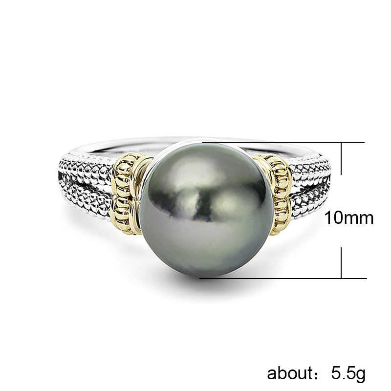 925 Silver Jewelry Pearl Ring Stainless Steel Luxury jewelry couple rings Ladies ring copper ringen Costume jewelry Indian b2340