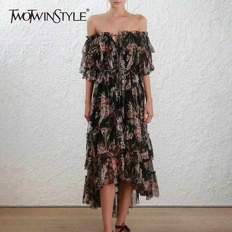 TWOTWINSTYLE Print Off Shoulder Beach Dress Women Slash Neck Short Sleeve Bandage Asymmetrical Midi Dresses Female