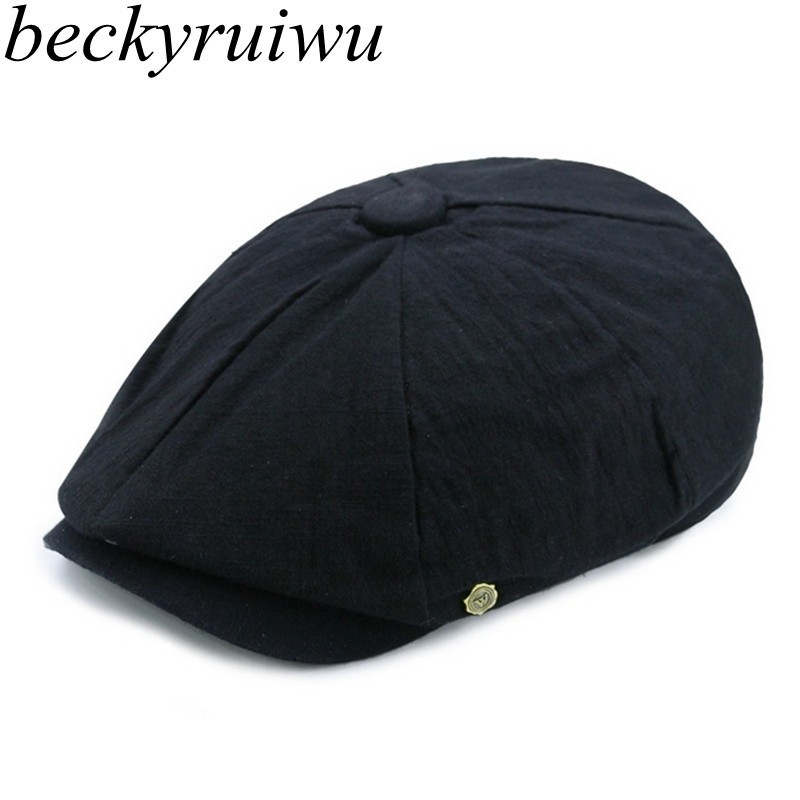 Hat Newsboy-Cap Flat-Peaked-Cap Beret-Hat Linen Plain Male Adult Cotton Summer Casual