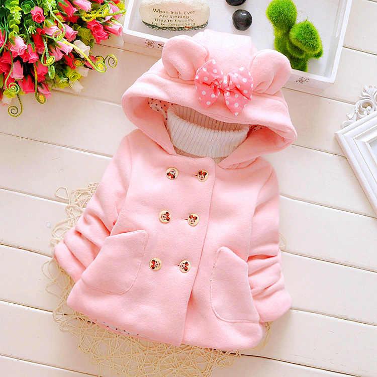 Куртка для девочек; сезон осень-зима; модная теплая двубортная куртка с длинными рукавами и бантом для маленьких девочек; детская одежда