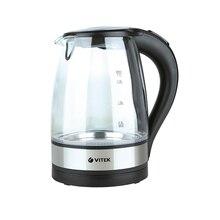 Чайник электрический Vitek VT-7008 TR (Мощность 2200 Вт, объем 1.7 л, материал - стекло, подсветка, вращение 360°, отсек для хранения шнура)
