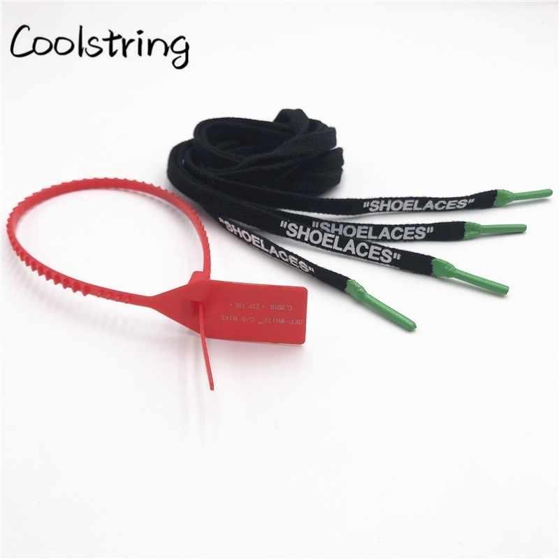 Coolstring Double-sided Printing No Final De OW A Dez Shoe Laces Cadarços Com Silicone Para Sapatilhas Botas com Zip Tie Logo