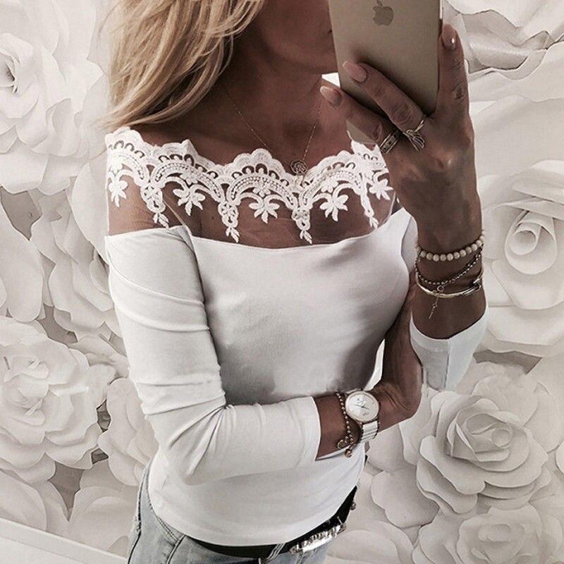 New Fashion Women Off Shoulder Lace Slash Neck   T     Shirt   Top Casual loose Long Sleeve Off shoulder Tops Lace   T  -  shirt
