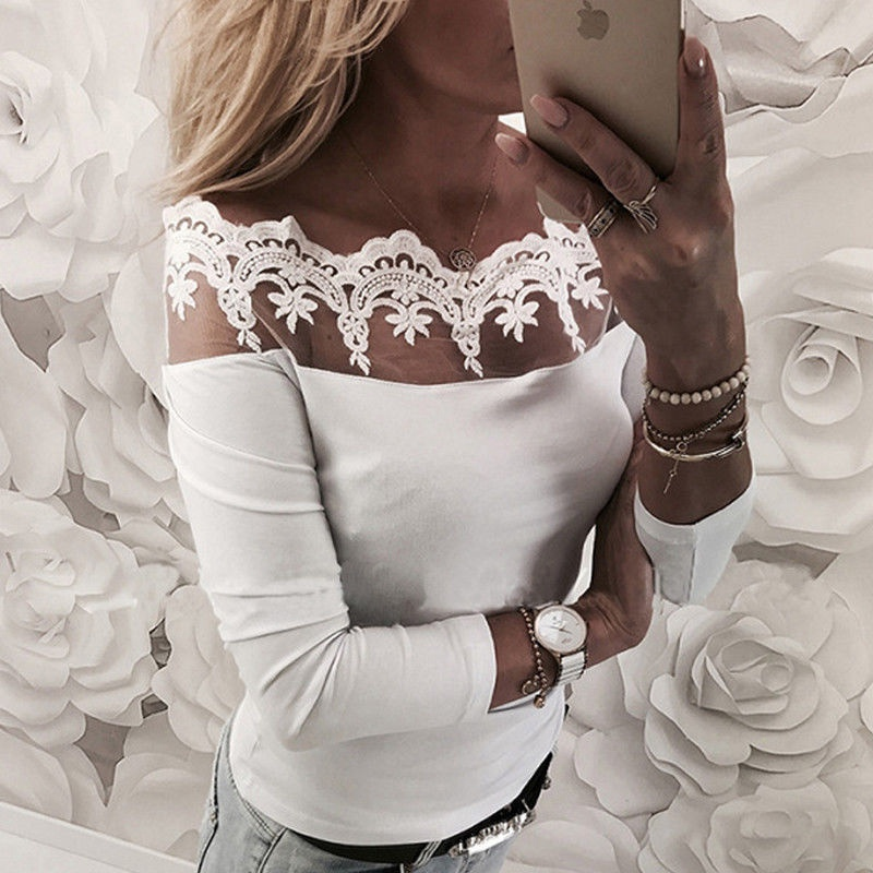 New Fashion Women Off Shoulder Lace Slash Neck T Shirt Top Casual loose Long Sleeve Off shoulder Tops Lace T-shirt image