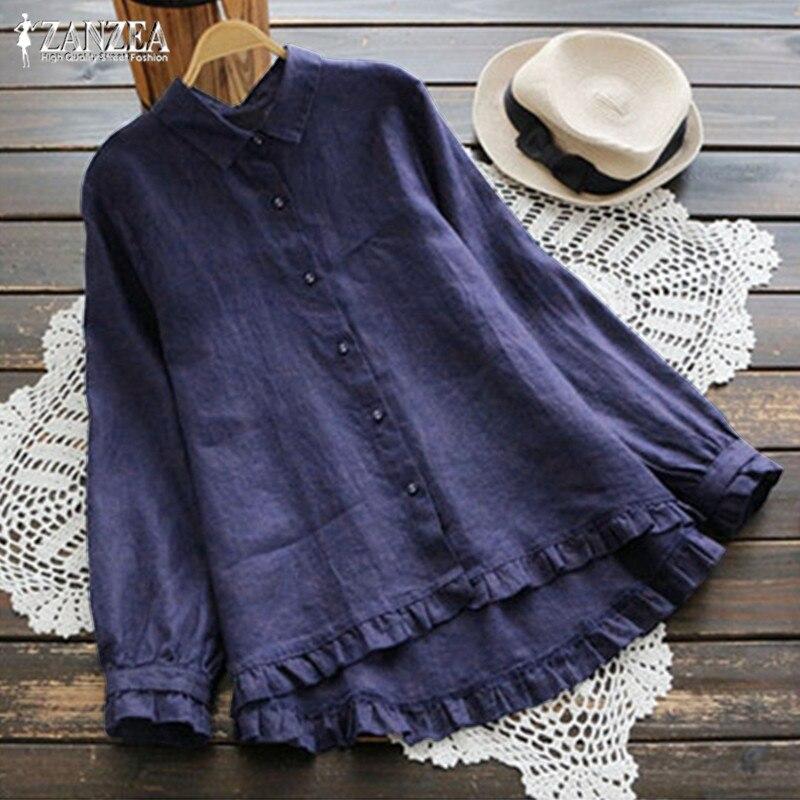 Vintage lin Blouses femmes volants hauts 2019 ZANZEA femme revers tunique décontractée Blusas femme boutonné chemises Chemise grande taille