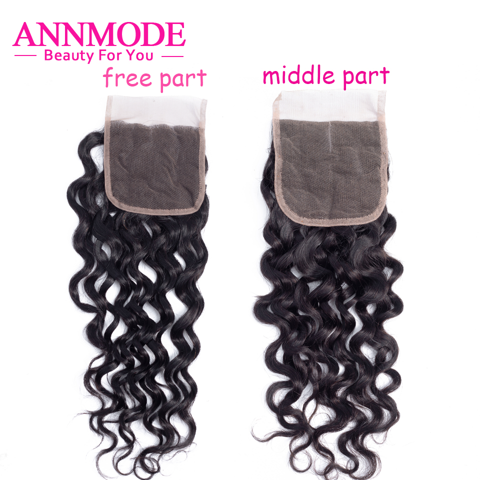 Annmode Human Hair Lace Closure Malaysian Water Wave Non Remy Hair Natural Color 100% Human Hair Middle/Free Part 4''x 4''