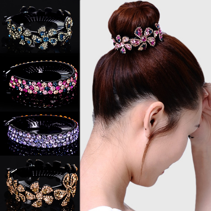 Resin Flower Rhinestone Bird Nest Floral Twist Clip Crystal Colours 1PC Professional Headdress Flower Korean Plastic Hair Clips