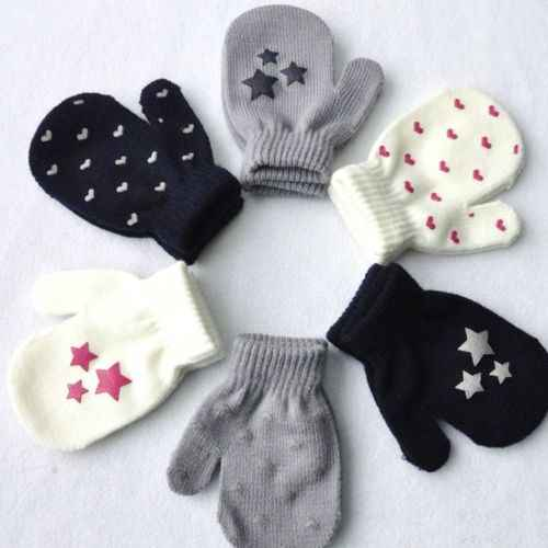 Детские Волшебные Перчатки и варежки для детей с принтом в виде звезд эластичный вязаный зимний теплый вязаный перчатки для девочек и мальчиков