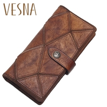 Vesna TAUREN 2019 New Retro Trend Womens Wallets For Lady Genuine Leather Clutch Wallet Women Girls Long Coin Card Purses