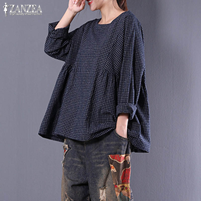 Plus Size Check Blouse 2019 ZANZEA Women's Tunic Top Vintgae Casual Plaid Blusas Female Long Sleeve Pleated Linen Shirts Kaftan