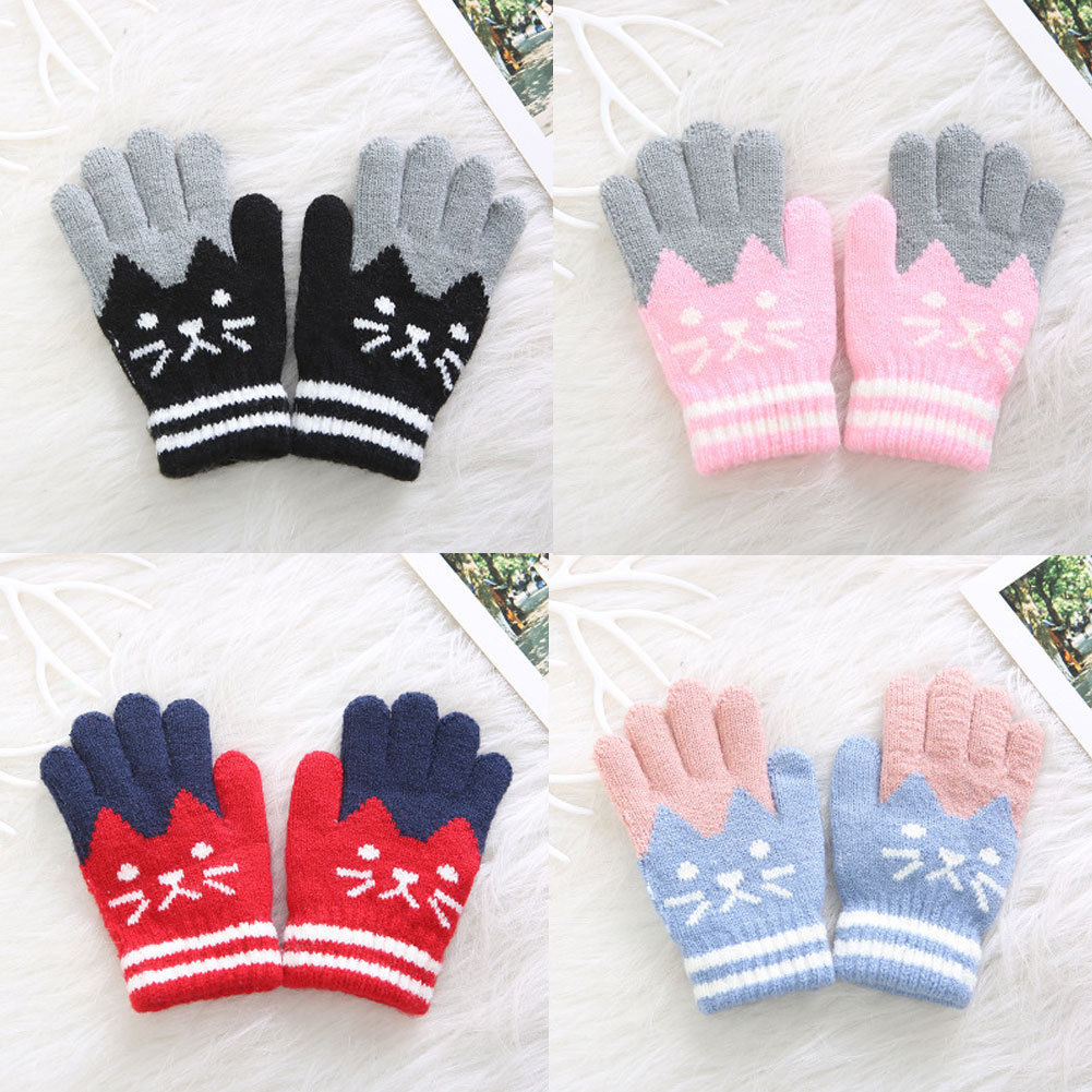 Thick Full Finger Mittens Knitted Gloves Finger  Protector Winter Warm Gloves