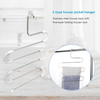 5 Layer Stainless Steel S Type Pants Hanger Closet Towel Storage Rack Shelf